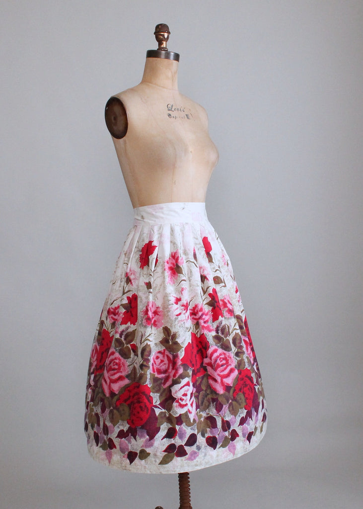 Vintage 1950s Rose Garden Full Skirt