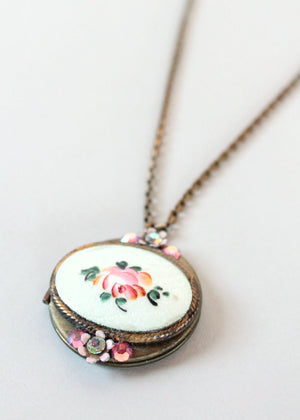 Vintage 1950s Rose Guilloche and Rhinestone Locket Necklace