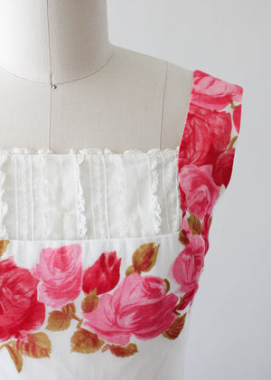 Vintage 1950s Rose Print Cotton Party Dress