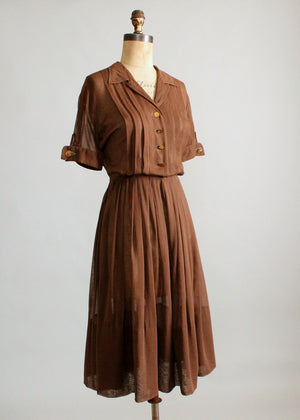 Vintage 1950s Sheer Brown Cotton Shirt Dress
