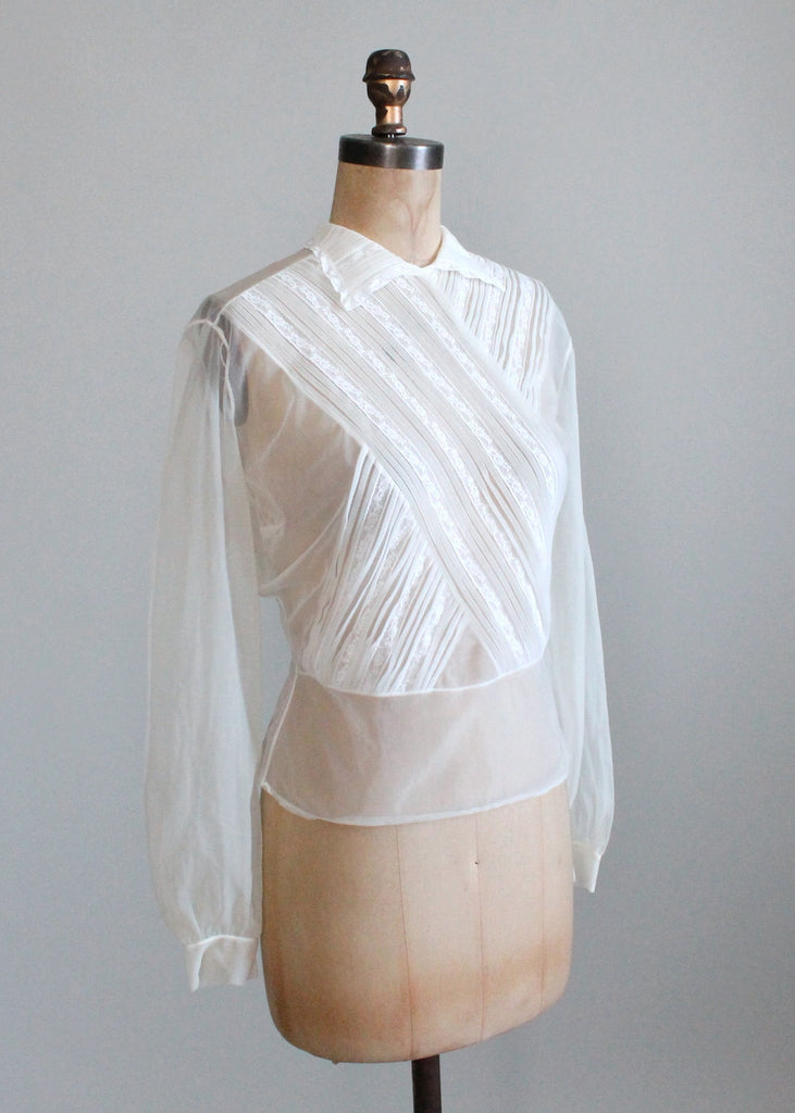 Vintage 1950s Sheer Nylon and Lace Blouse | Raleigh Vintage