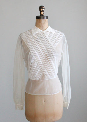 Vintage 1950s Sheer Nylon and Lace Blouse