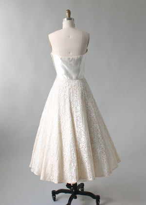 Vintage 1950s Strapless Stain and Lace Wedding Dress and Jacket