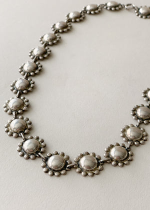 Vintage 1940s Sterling Silver Necklace and Bracelet Set