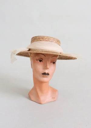 Vintage 1950s Straw Boater Hat with Wrapped Scarf