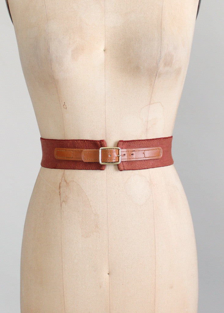 Vintage Brown Leather and Cotton Cinch Belt