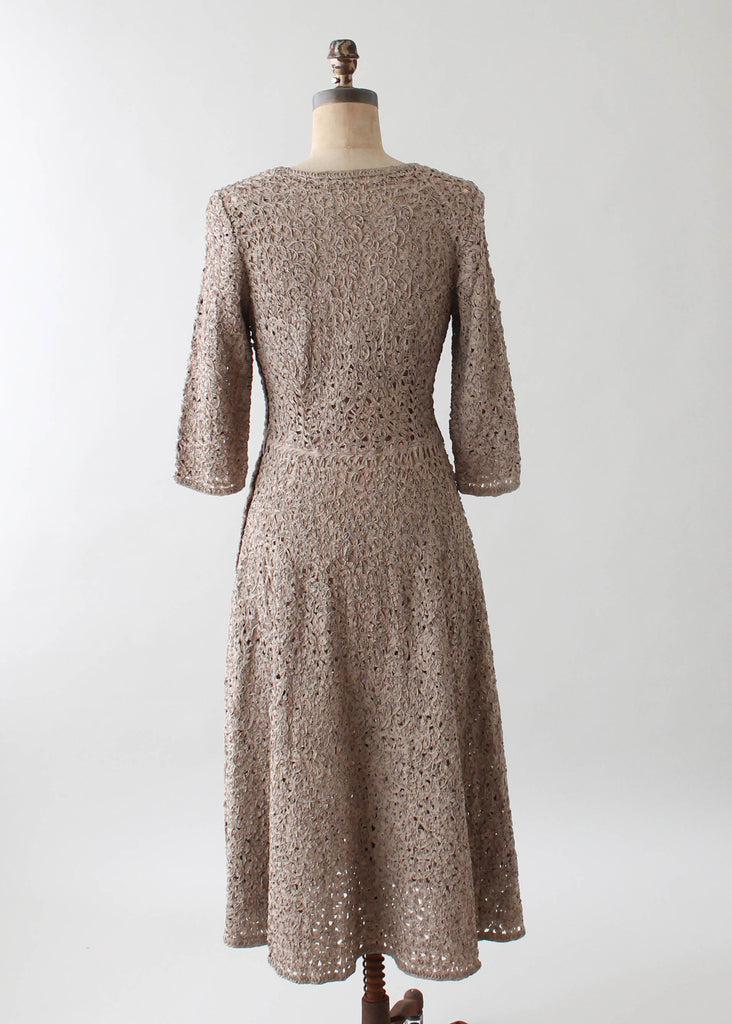 Vintage 1950s Tan Silk Ribbon Dress