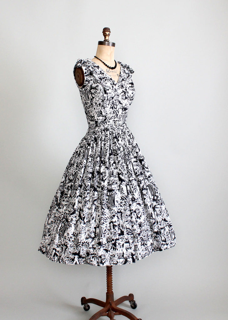 1950s novelty print sundress