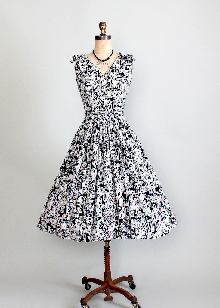 1950s tike print party dress