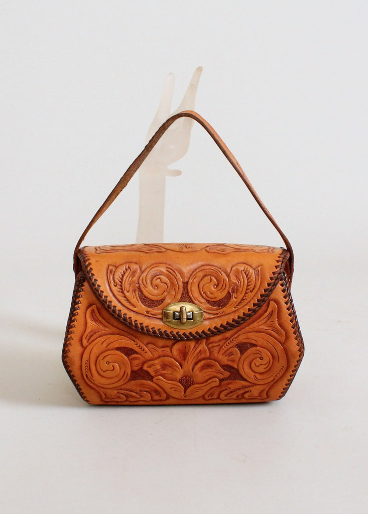 Vintage 1950s Tooled Leather Box Purse