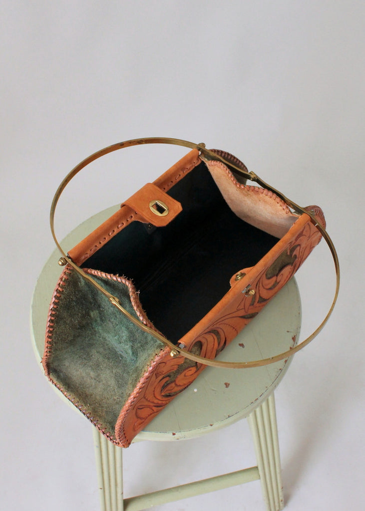 Vintage 1950s Tooled Leather and Green Suede Purse
