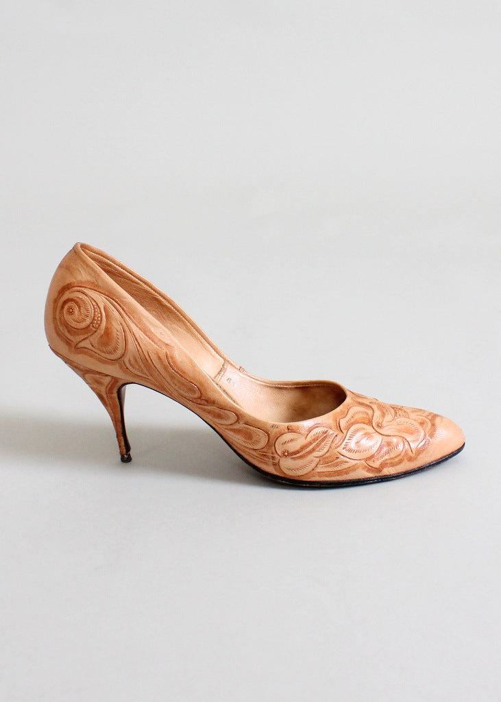 Vintage 1960s tooled leather shoes