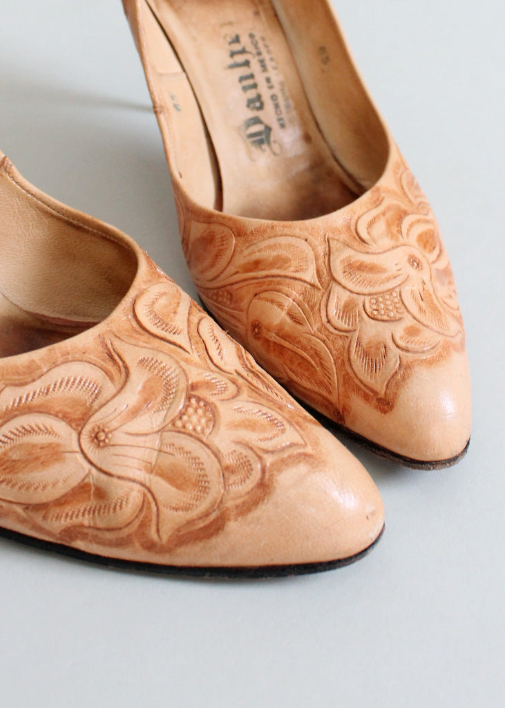 1950s tooled leather stiletto shoes