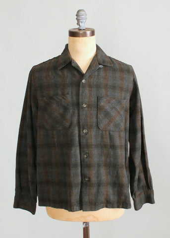 Vintaqge 1950s Shadow Plaid Wool Loop Collar Shirt