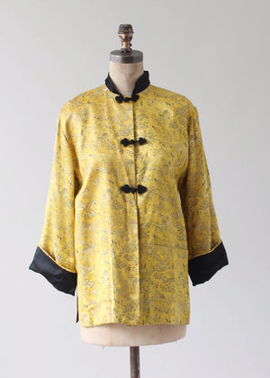 Vintage 1950s Yellow and Black Silk Asian Jacket