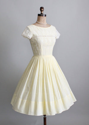 1950s yellow cotton day dress