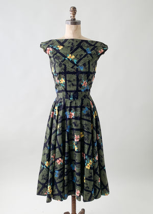 Vintage 1950s Floral Cotton Summer Dress