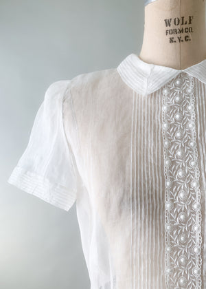 Vintage 1950s Sheer White Organdy Blouse