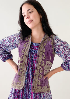 Vintage 1960s Embroidered Velvet Vest