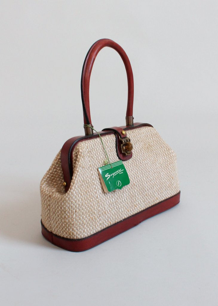 Vintage 1960s Aigner Jute and Leather Doctor Bag