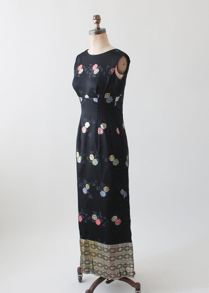 Vintage 1960s Chinoiserie Embroidered Silk Dress