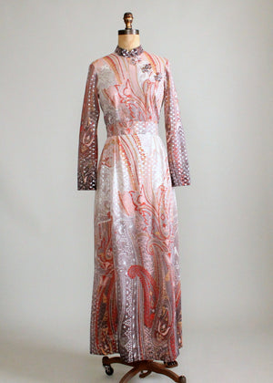 Vintage 1960s Ombre Paisley Lame Party Maxi Dress