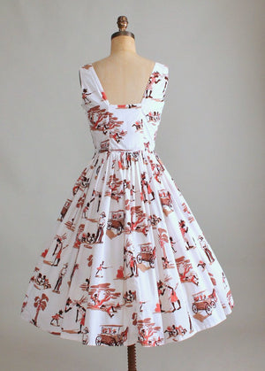 Vintage 1960s Bahamas Novelty Print Sundress