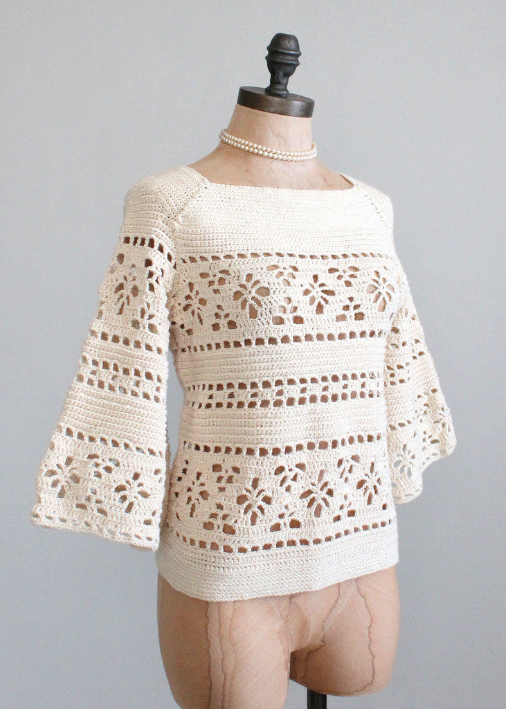 Vintage 1960s Bell Sleeve Hand-knit Sweater