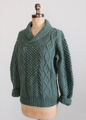 Vintage 1960s Blue Cable Knit Shawl Collar Fisherman Sweater