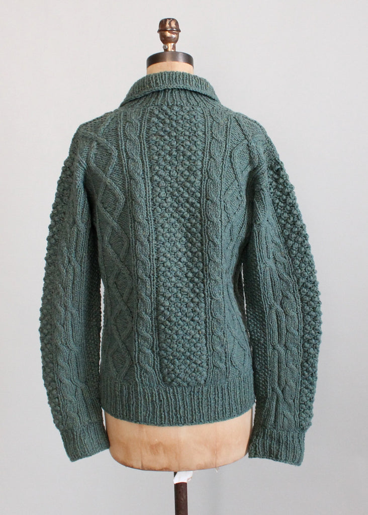 Vintage 1960s Blue Cable Knit Shawl Collar Fisherman