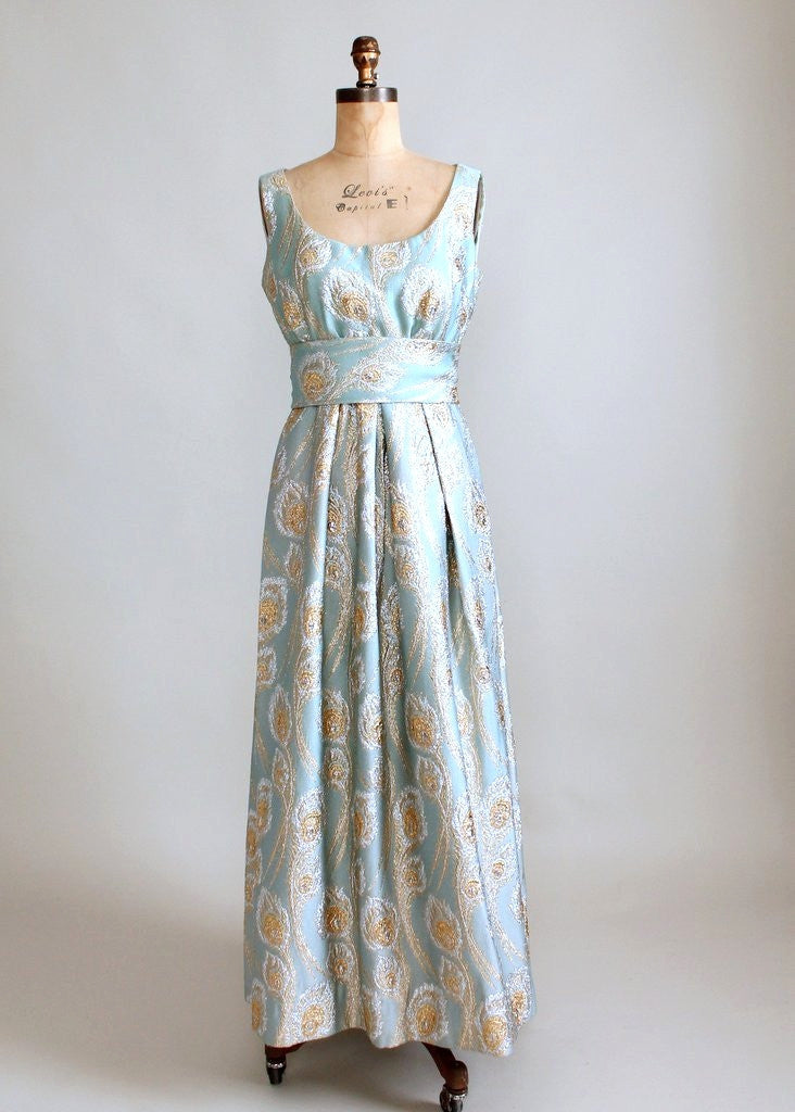 Charming Vintage 1960s Ceil Chapman Brocade Lamé Evening Gown