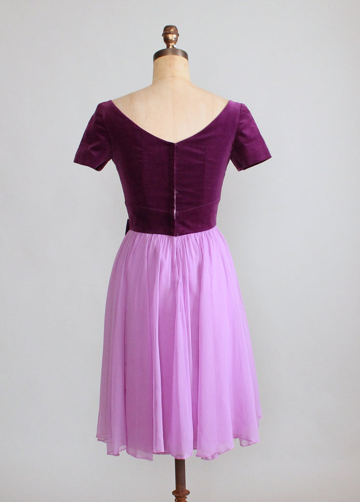 Vintage 1960s Emma Domb Purple Velvet and Chiffon Party Dress