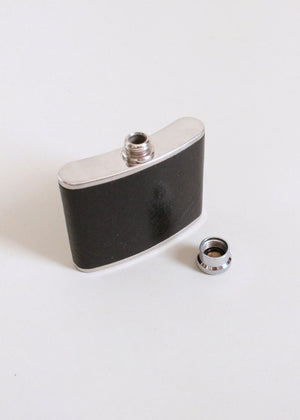 Vintage 1960s English Silver and Leather Flask
