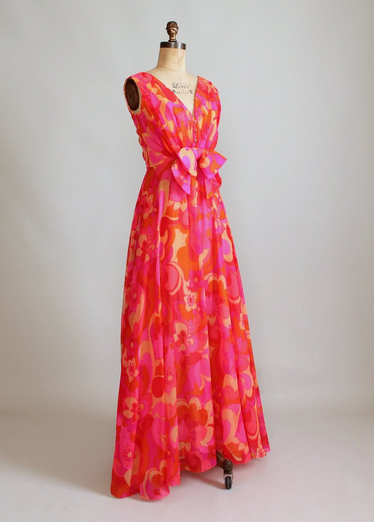 Vintage 1960s Enrico Crista Chiffon Summer Party Maxi Dress