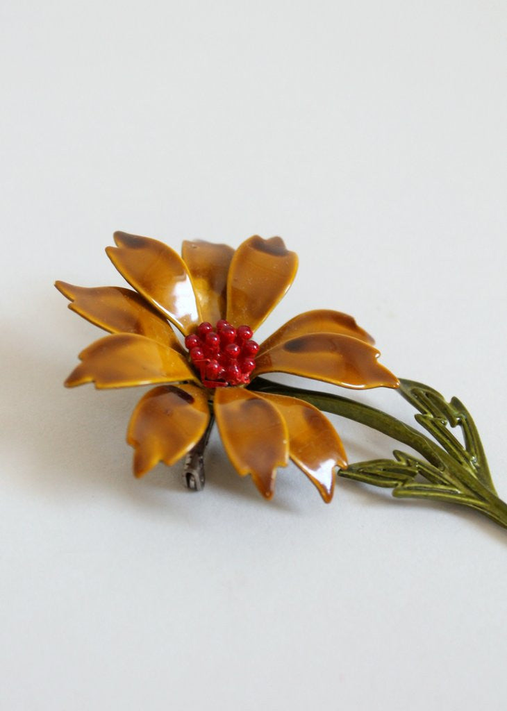 Vintage 1960s Fall Flower Enamel Brooch