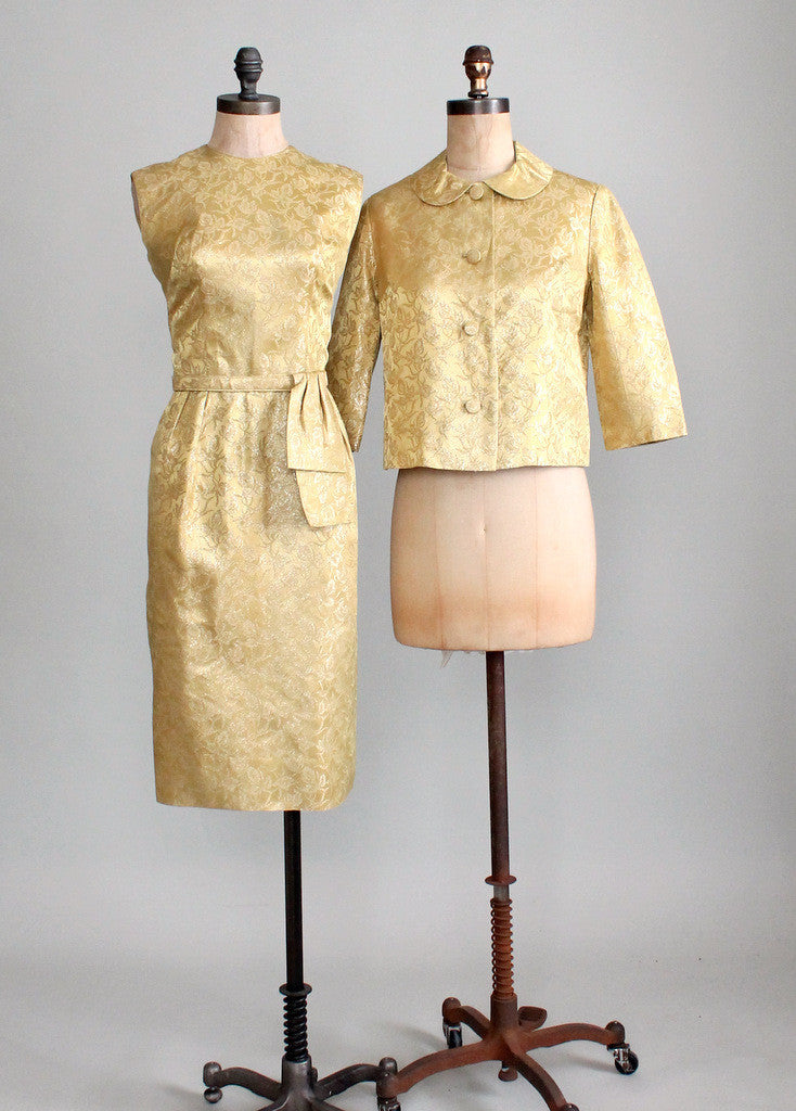 Vintage 1960s Gold Brocade Cocktail Dress and Jacket