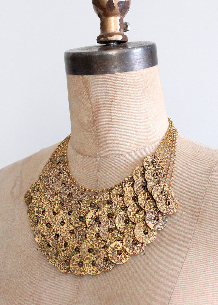 Vintage 1960s Lucky Coin Bib Necklace