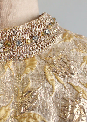 Vintage 1960s Gold Lame MOD Party Dress