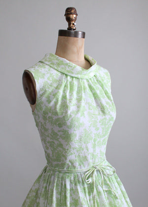 Vintage Early 1960s Green Toile Summer Dress