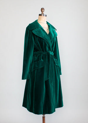 Vintage 1970s Emerald Green Velvet Wrap Trench Coat