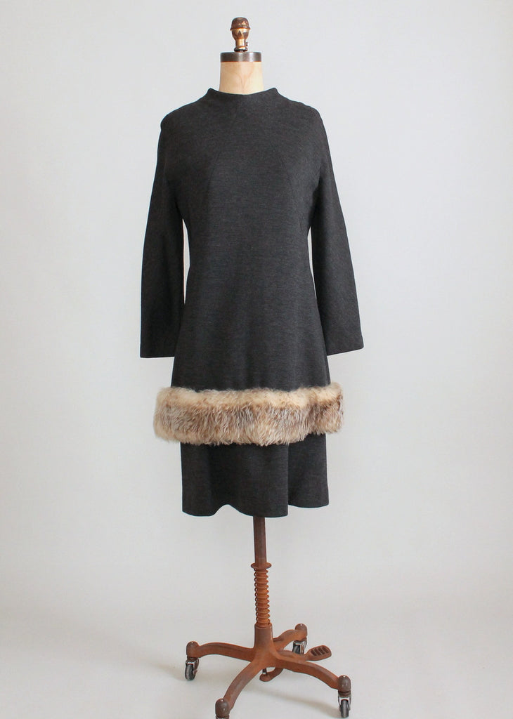 Vintage 1960s Grey Wool and Faux Fur MOD Dress