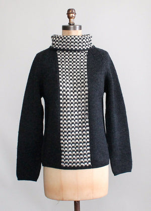 Vintage 1960s Italian Wool Graphic MOD Sweater