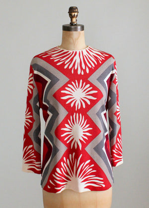 Vintage 1960s Red and Grey MOD Geometric Print Top