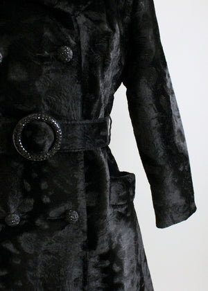 Vintage 1960s MOD Black Faux Fur Belted Winter Coat