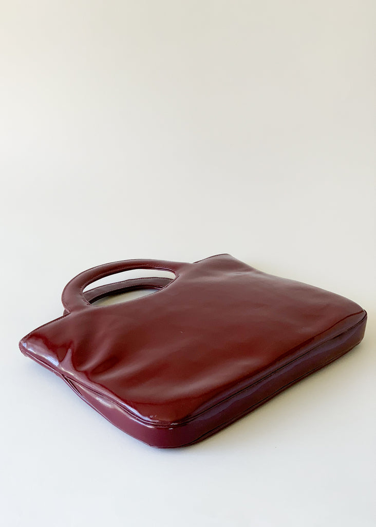 Vintage 1960s Cranberry Patent Purse
