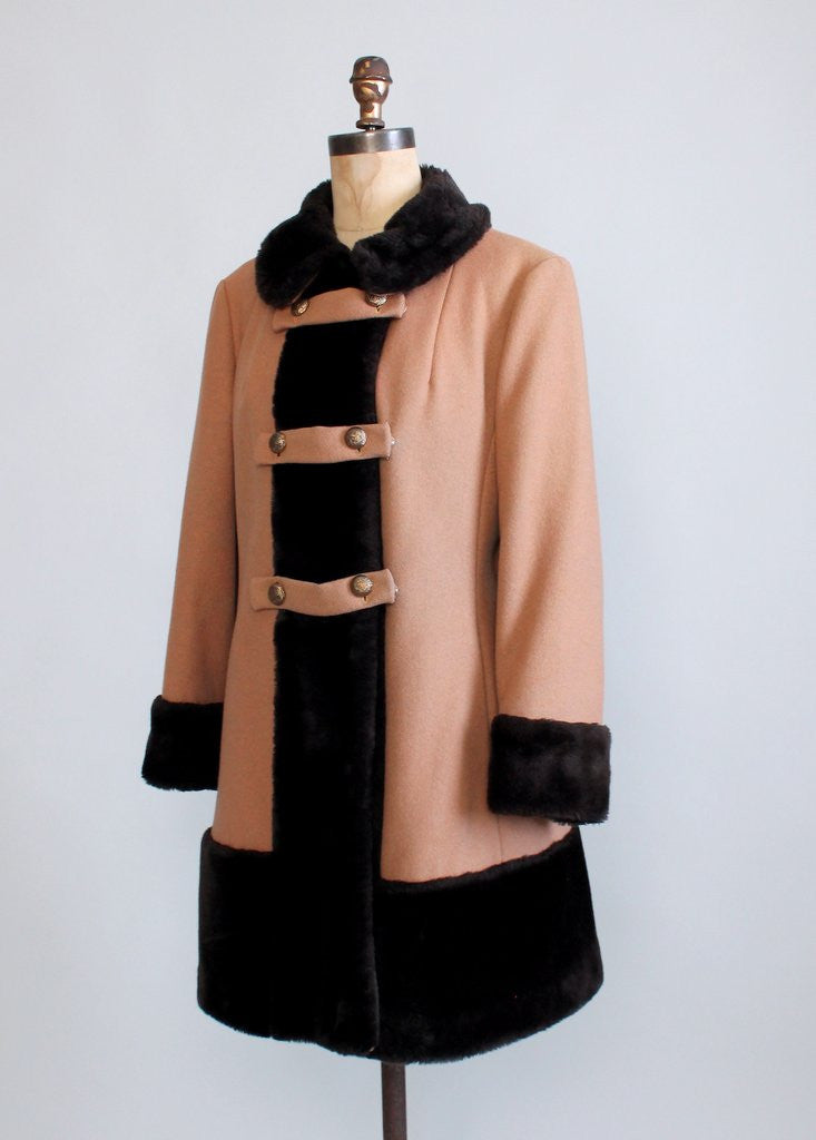 Vintage 1960s MOD Wool and Faux Fur Winter Coat