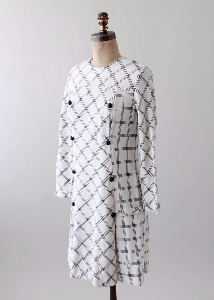 Vintage 1960s MOD Checked Day Dress