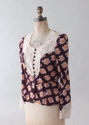 Vintage 1960s Floral and Lace MOD Blouse