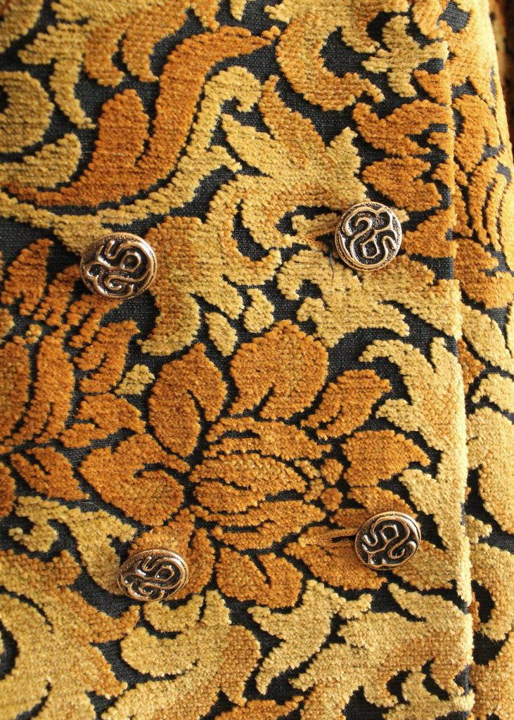 Vintage 1960s MOD Gold and Black Tapestry Carpet Coat