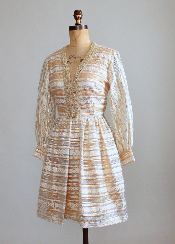 Vintage 1960s MOD Shimmery Gold Party Dress